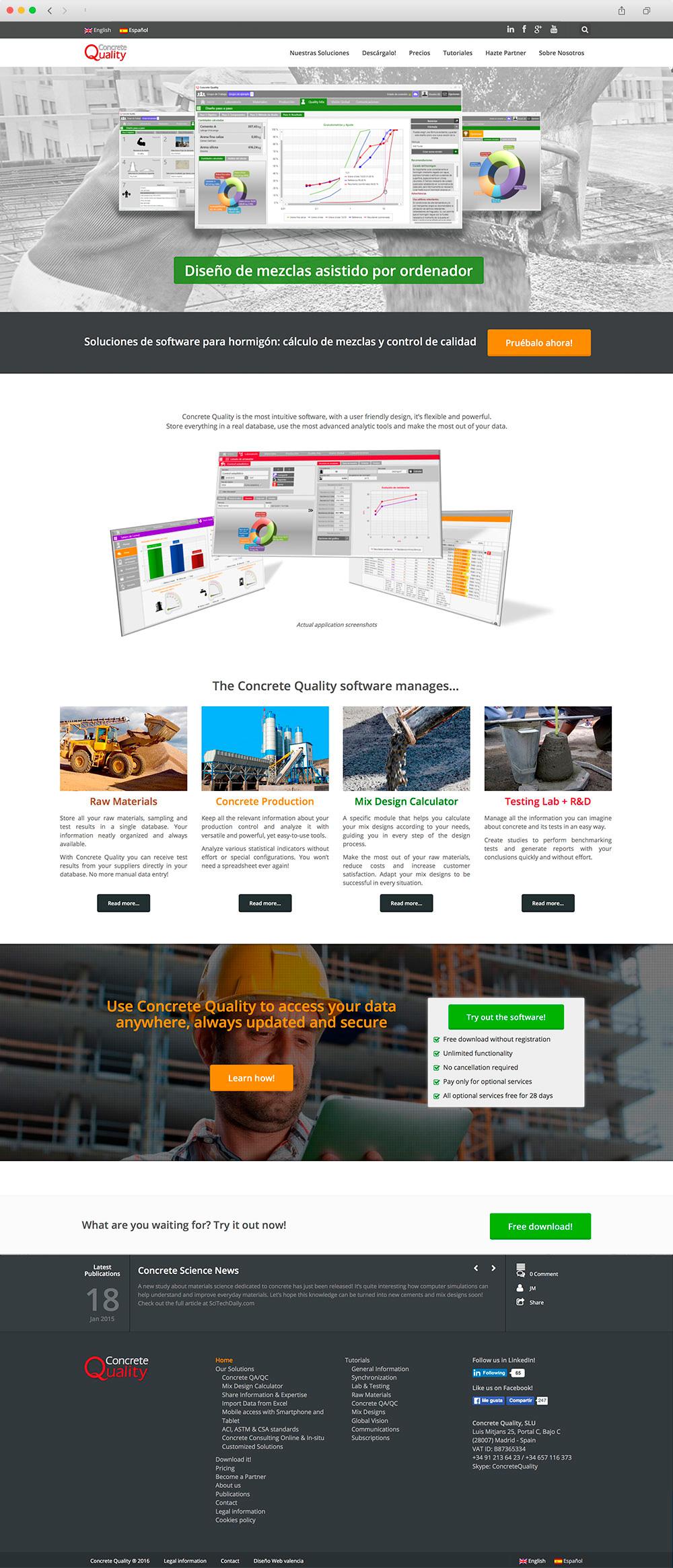 Diseño de portal Web presencial para una empresa especializada en tecnología relacionada a la industria del hormigón.