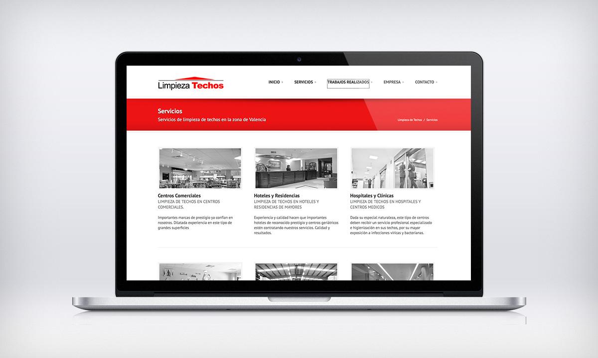 Diseño de pagina Web corporativa para una empresa de limpieza de techos en Valencia