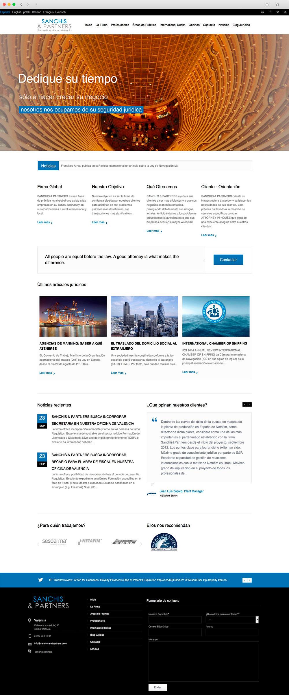 Desarrollo de portal Web para un bufete de abogados en Valencia