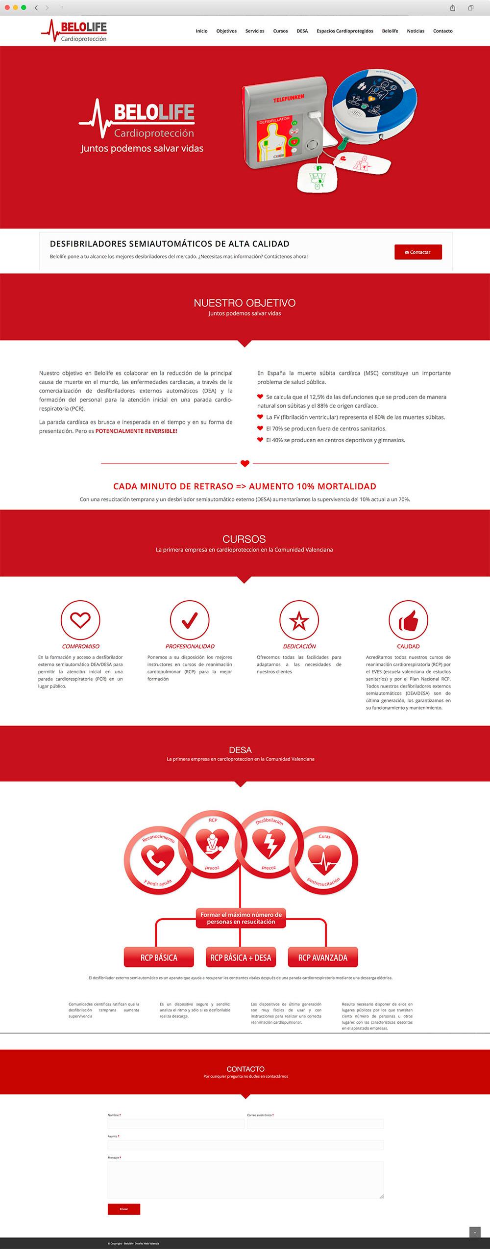 Diseño de página Web presencial para una empresa especializada en la venta y la instalación de desfibriladores en Valencia