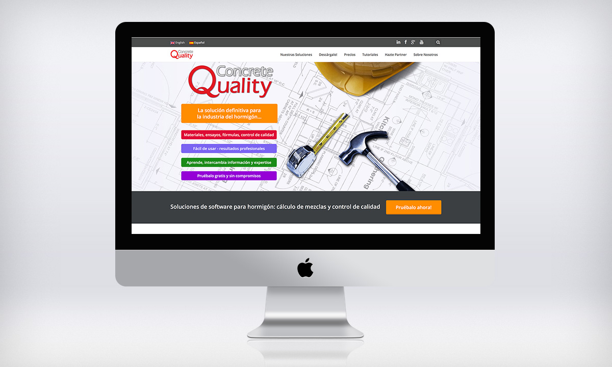 Diseño de pagina Web corporativa para una empresa especializada en tecnología relacionada a la industria del hormigón.