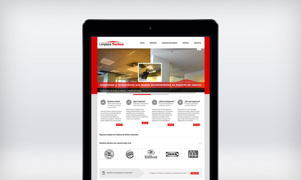 Diseño de pagina Web responsive para una empresa de limpieza de techos.