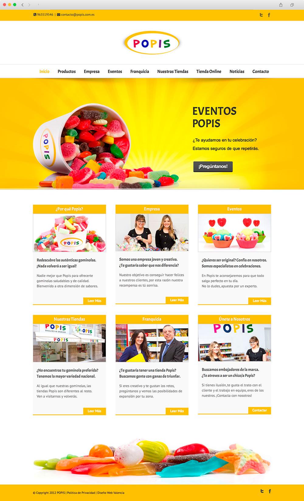 Diseño de pagina Web presencial para una tienda de chuches en Valencia