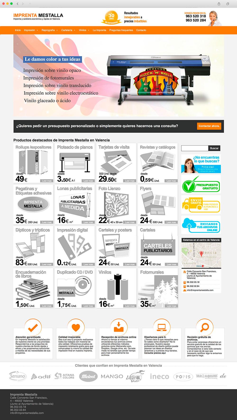 Diseño Web corporativo para Imprenta Mestalla en Valencia
