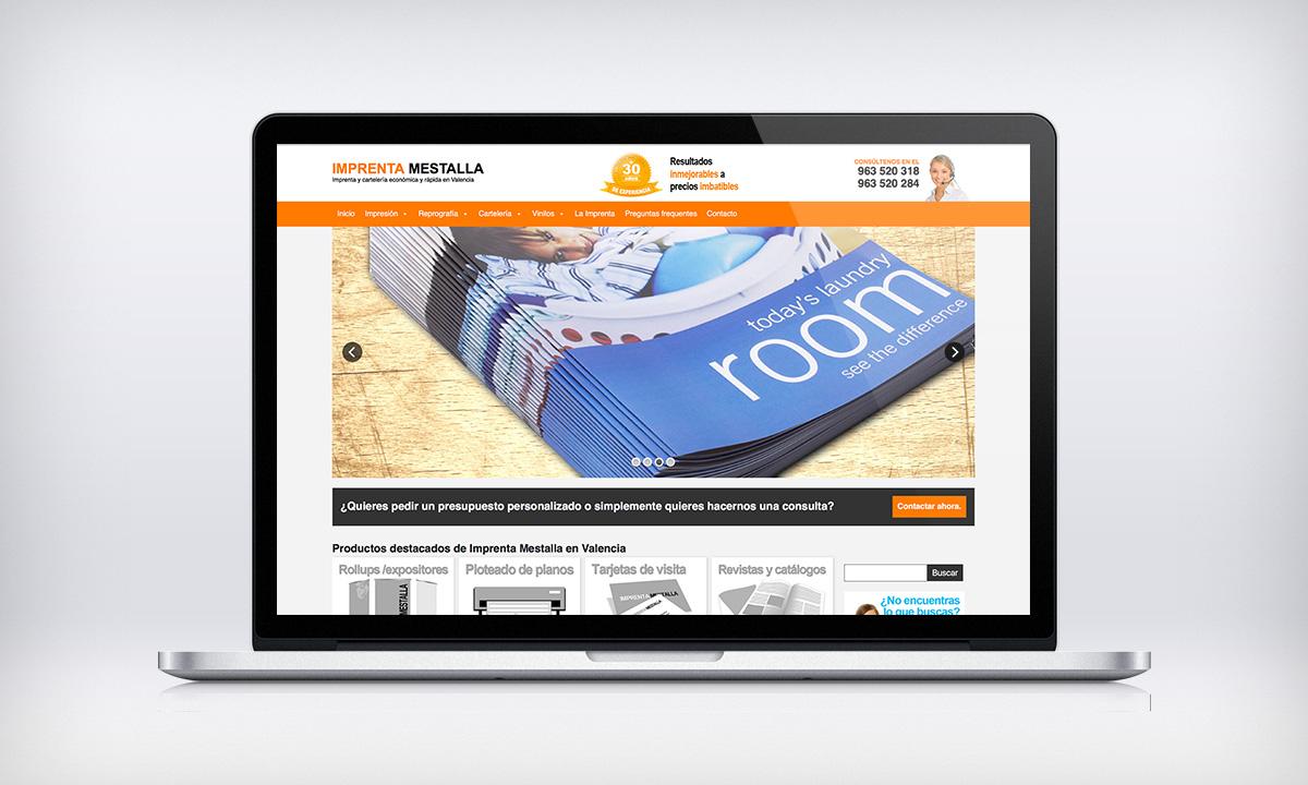 Diseño Web presencial para Imprenta Mestalla en Valencia