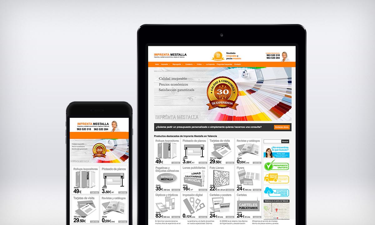 Diseño Web responsive para Imprenta Mestalla en Valencia