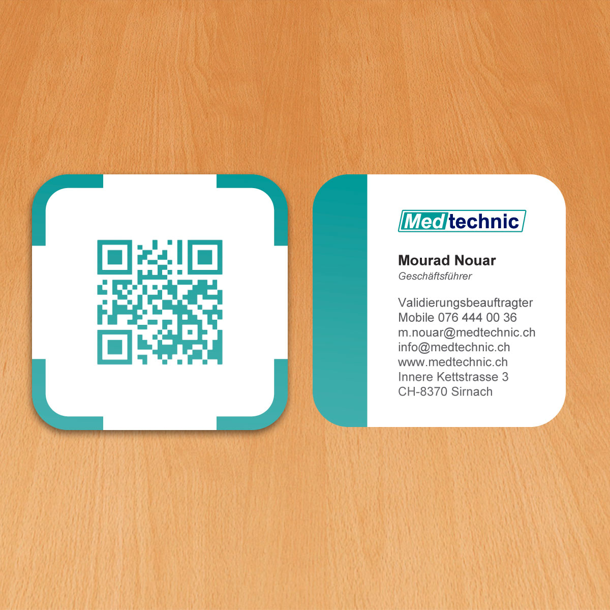 Diseño de tarjetas de visita para Medtechnic, una empresa distribuidora de materiales médicos en Suiza