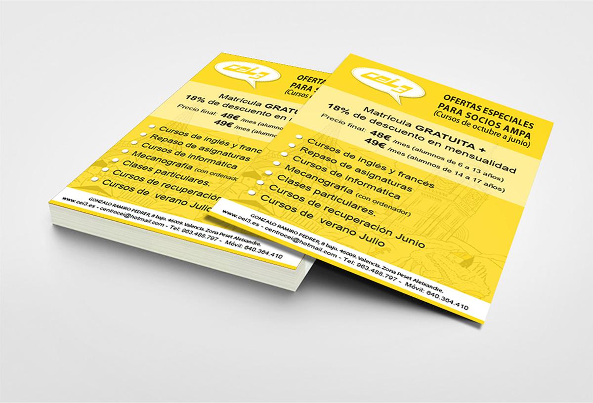 Diseño de flyers publicitario para CEI3