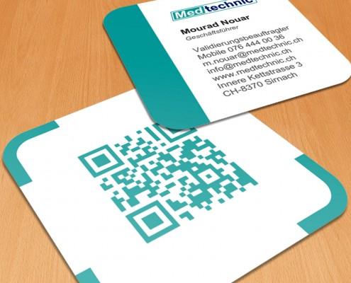 Diseño de tarjetas de visita para Medtechnic, una empresa especializada en venta de materiales médicos en Suiza