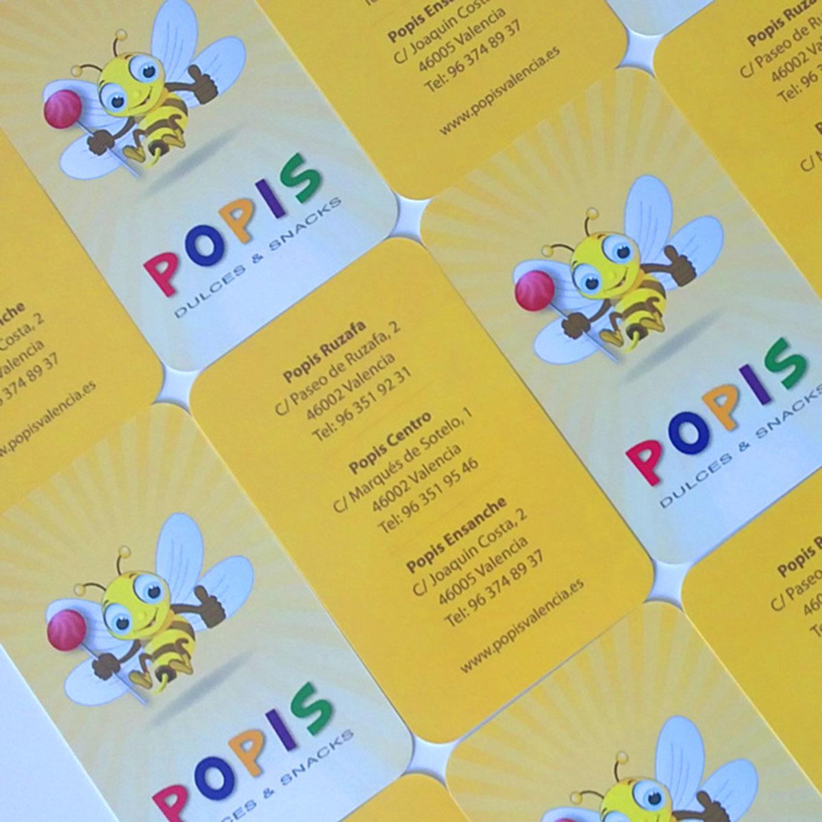 Diseño de tarjetas de visita para Popis en Valencia