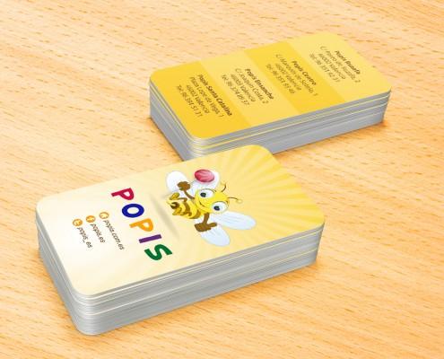 Diseño de tarjetas de presentación para Popis en Valencia