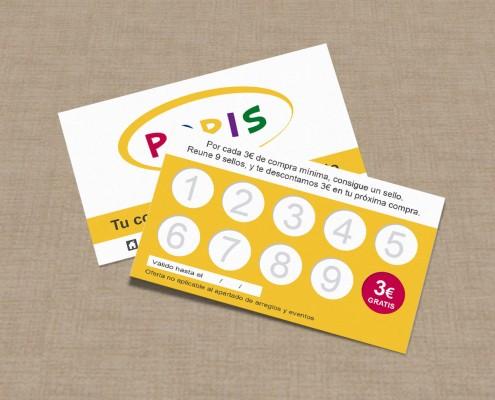 Diseño de tarjetas de fidelización para Popis en Valencia