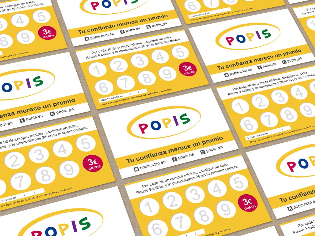 Diseño de tarjetas de fidelización para Popis