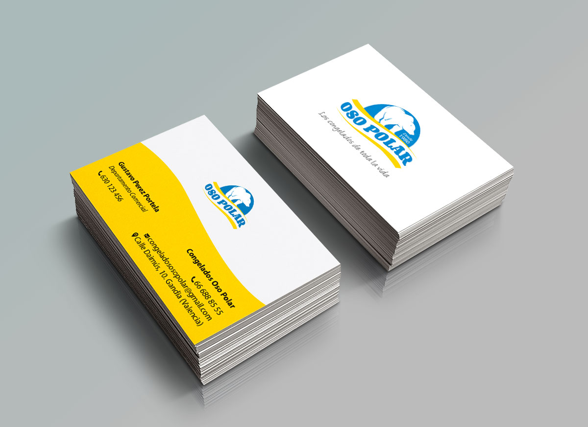 Diseño de tarjetas de visita para empresa de alimentos congelados